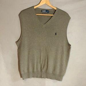Polo sleeveless, v-neck gray sweater vest Sz XL